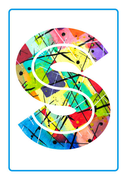 Abstract Painting Watercolor Typography Letter S vector art illustration
