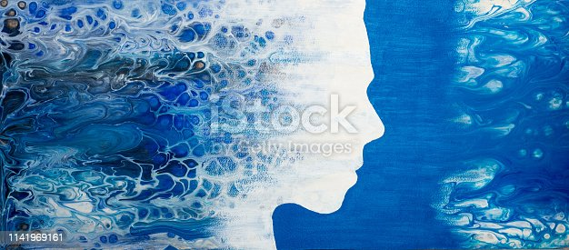 Abstract painting with liquid acrylic. Profile of the girl from the sea foam. - illustration
