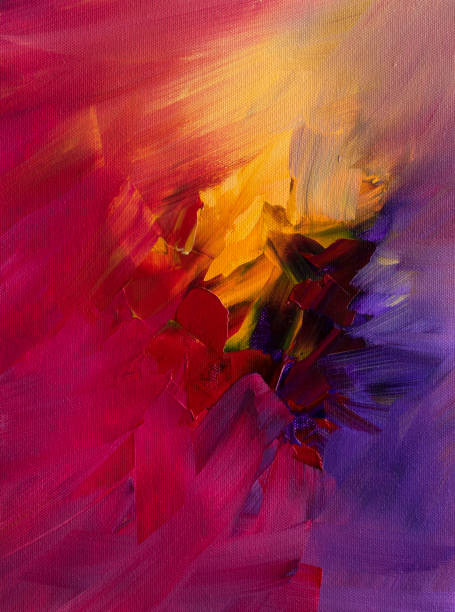 Abstract painting with red, yellow, and violet vector art illustration