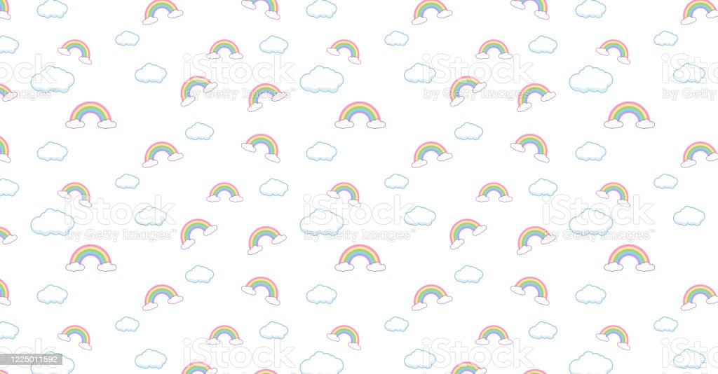 abstract pattern rainbow and clouds kawaii wallpaper background cute illustration id1225011592