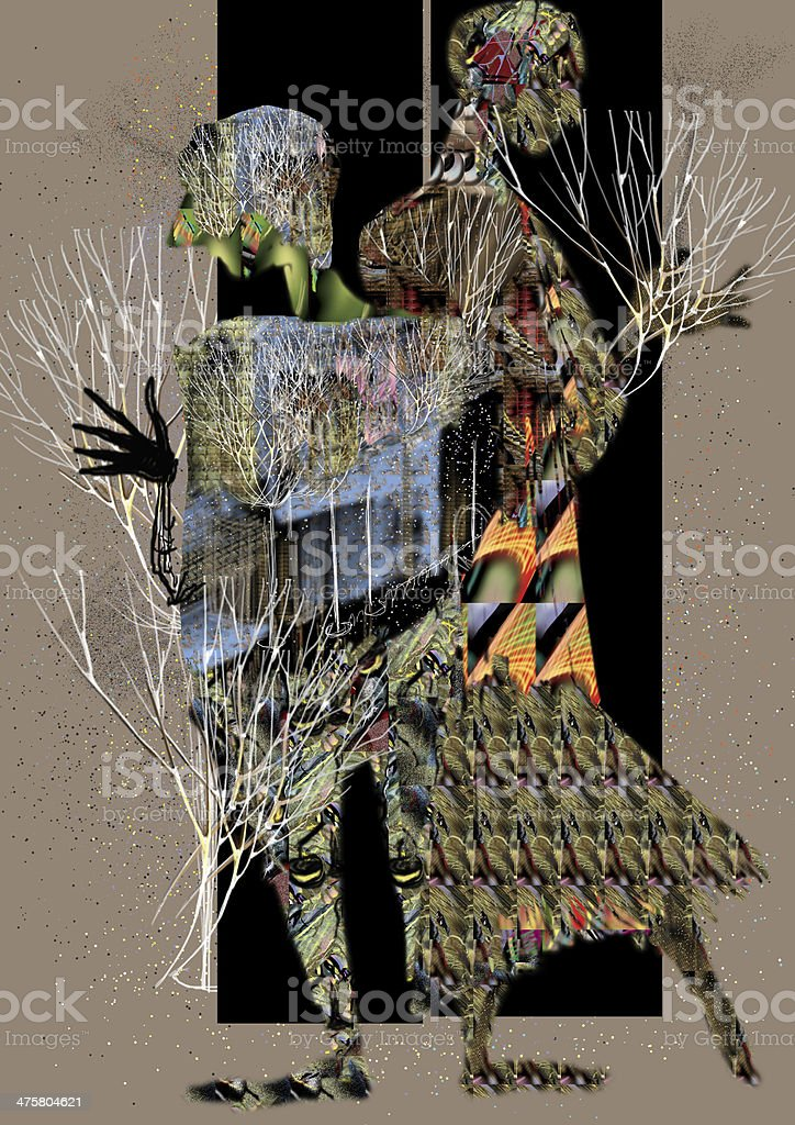 abstract people standing in a door frame, holding plants vector art illustration