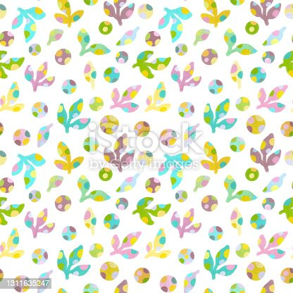 istock Abstract plant crayons hand draw illustrations. Seamless pattern. 1311635247