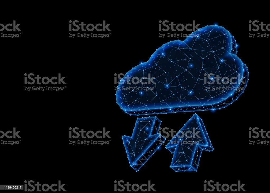 Abstract polygonal light design of cloud storage with arrows. Abstract polygonal light design of cloud storage with arrows. Business low poly wireframe mesh spheres from flying debris. Files uploading concept. Blue lines structure style raster illustration. Abstract stock illustration