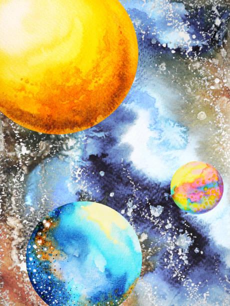 bildbanksillustrationer, clip art samt tecknat material och ikoner med abstrakta power universum akvarell målning illustration design hand dras - earth from space