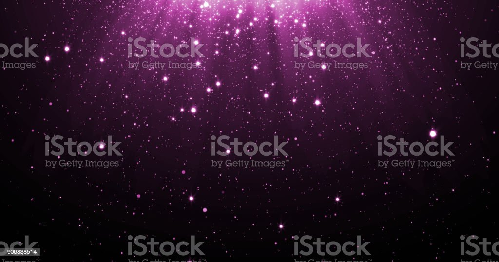 Abstract purple glitter particles background with shining stars falling down and light flare or glare overlay effect above for luxury premium product design template backdrop. Magic light radiance vector art illustration