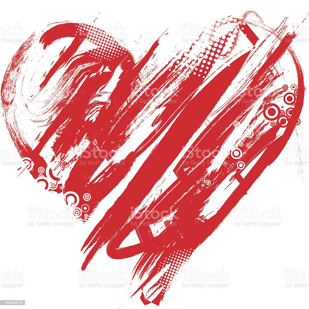Abstract red shape of heart over white royalty-free stock vector art