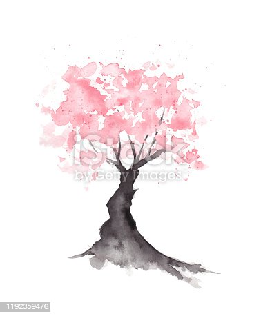 istock Abstract Sakura Cherry Blossom Tree - Original Watercolor Painting 1192359476