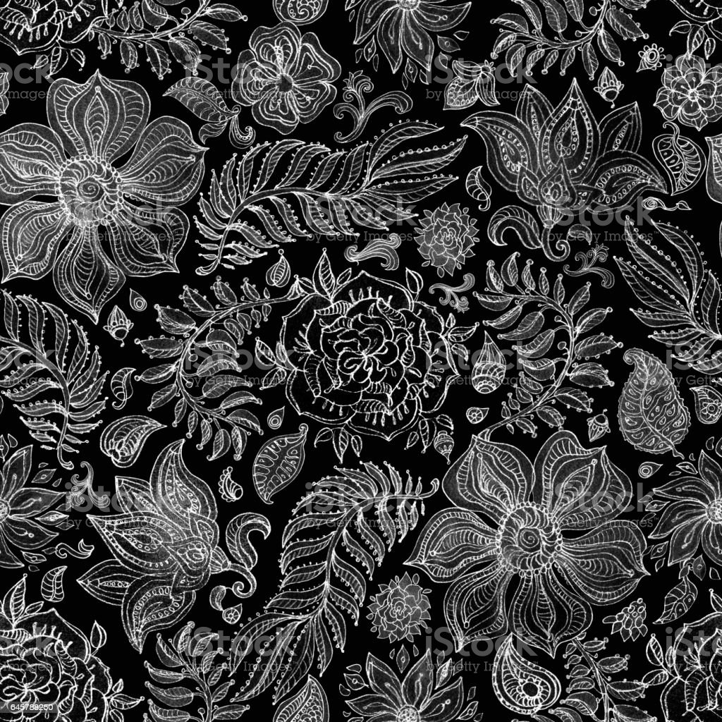 Abstract seamless floral pattern from silver gray i hand painted watercolor  fantasy leaves, flowers,  Paisley elements and curly branches on a black background. Textile print, album cover, batik paint, wallpaper, wrapping paper, cotton design vector art illustration