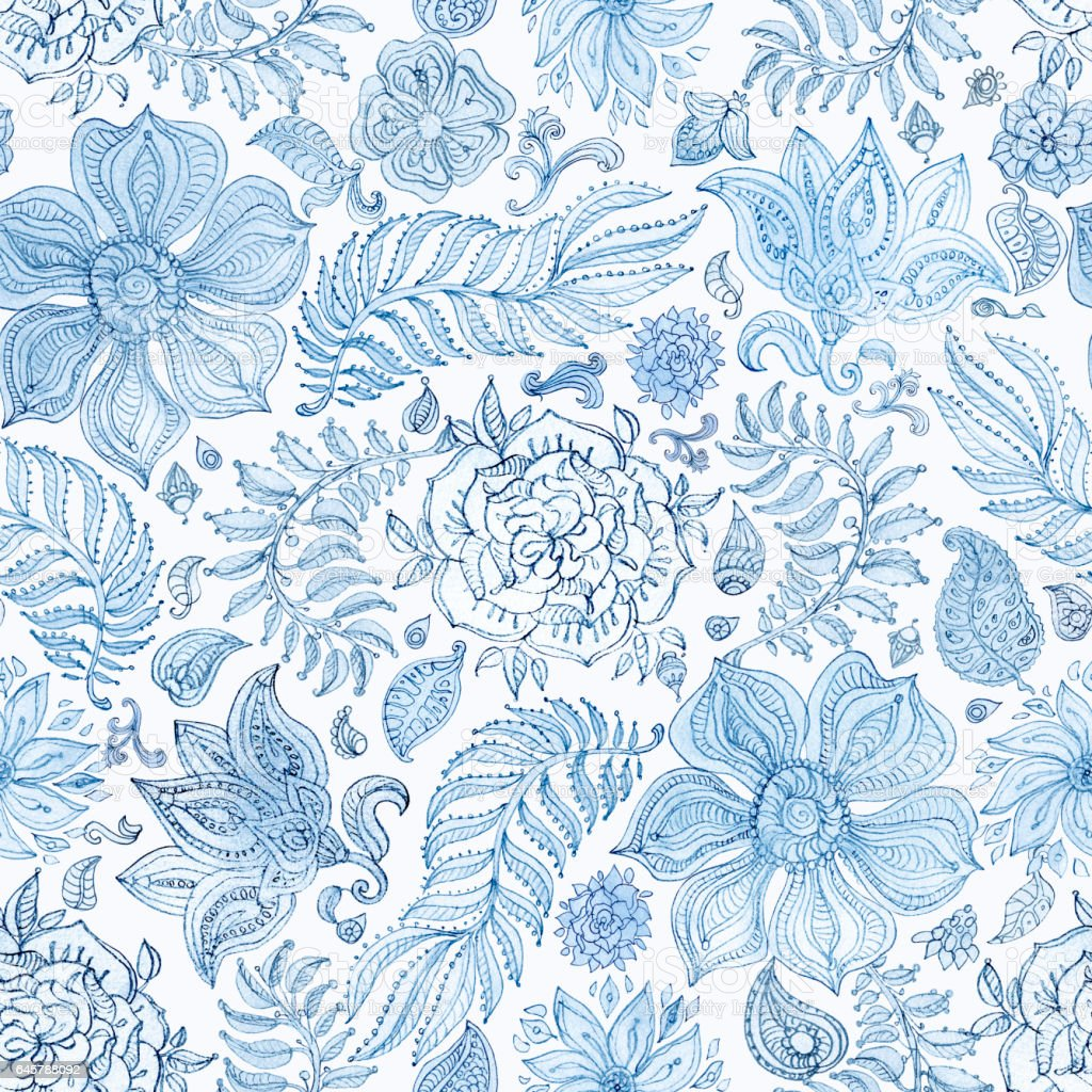 Abstract seamless floral pattern of indigo blue hand painted watercolor  fantasy leaves, flowers,  Paisley elements and curly branches on a white background. Textile print, album cover, batik paint, wallpaper, wrapping paper, cotton design vector art illustration