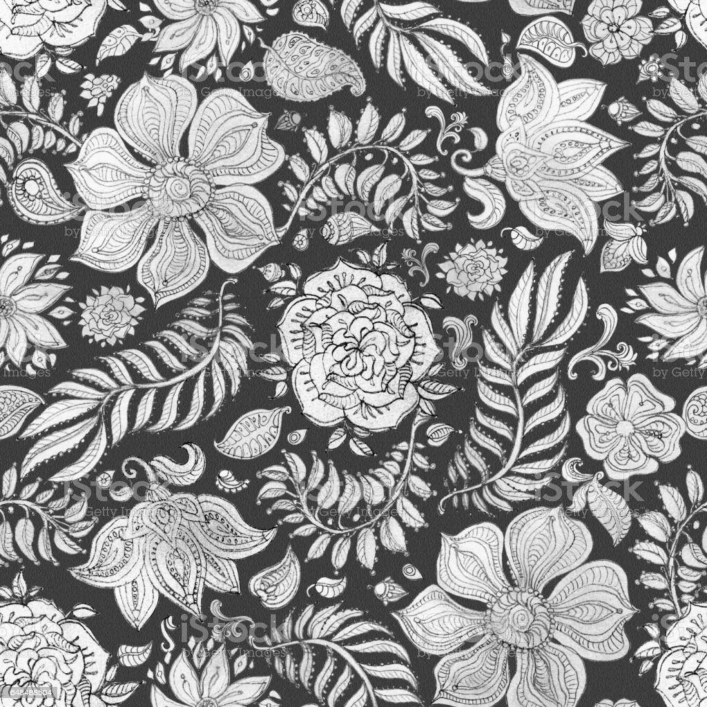 Abstract seamless floral pattern of silver gray hand painted watercolor  fantasy leaves, flowers,  Paisley elements and curly branches on a black  background. Textile print, album cover, batik paint, wallpaper, wrapping paper, cotton design vector art illustration