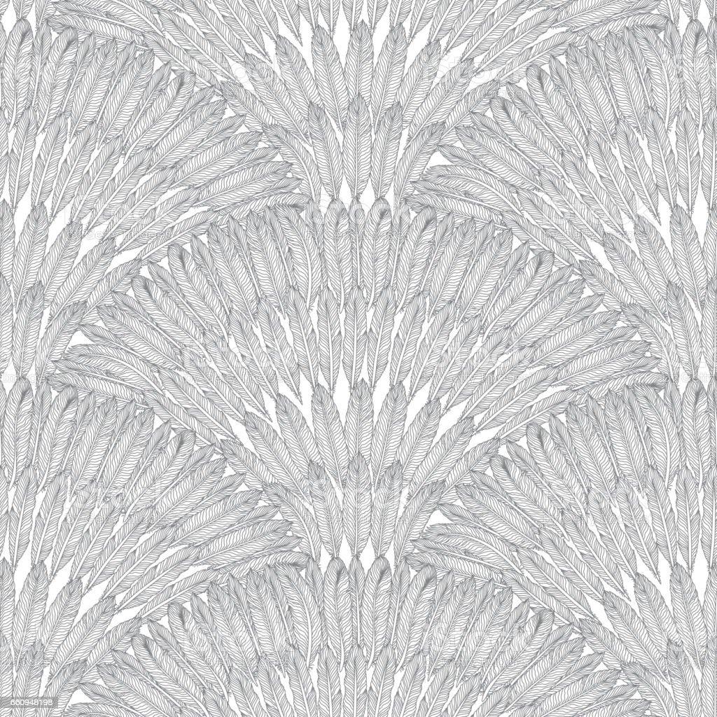 Papier Peint Art Deco Blanc abstrait motif géométrique sans soudure de plumes gris