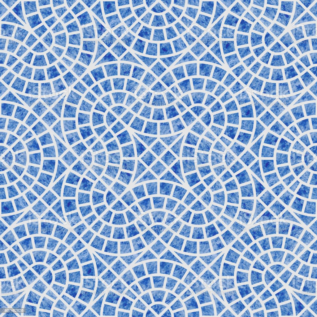 Abstract Seamless Geometrical Pattern With Blue Watercolor Texture ...