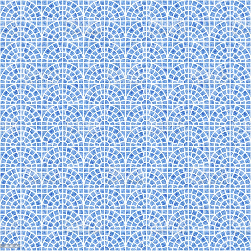 Abstract Seamless Geometrical Scale Pattern With Blue Watercolor ...