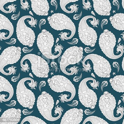 Abstract seamless nautical paisley pattern  from silver grey doodle mermaid silhouette, sea anchor,  on a dark turquoise blue background.Hand drawn sketch, wallpaper oriental ornament, textile print, wrapping paper, cover