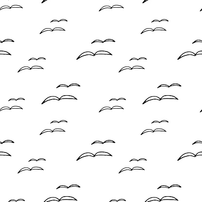 Abstract seamless pattern with birds Gull hand drawn, bird silhouette. Stylish design for fabric, wallpaper, wrapping.