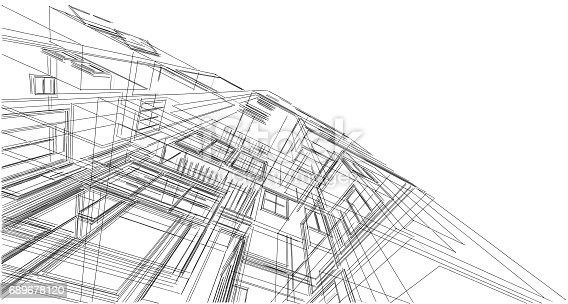 Abstract Sketch Architectural Construction Wireframe Stock