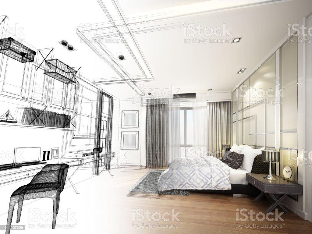 Abstracte schets ontwerp van interieur slaapkamer 3drendering