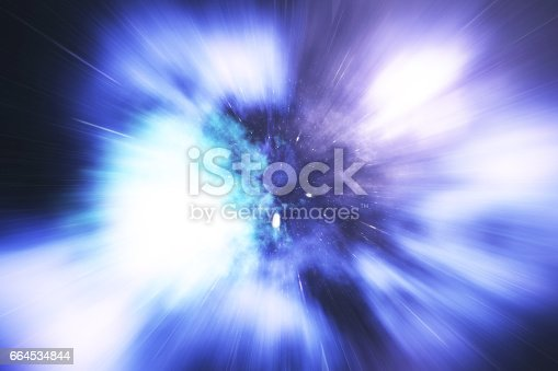 istock Abstract speed tunnel warp in space, wormhole or black hole, scene of overcoming the temporary space in cosmos. 3d rendering 664534844