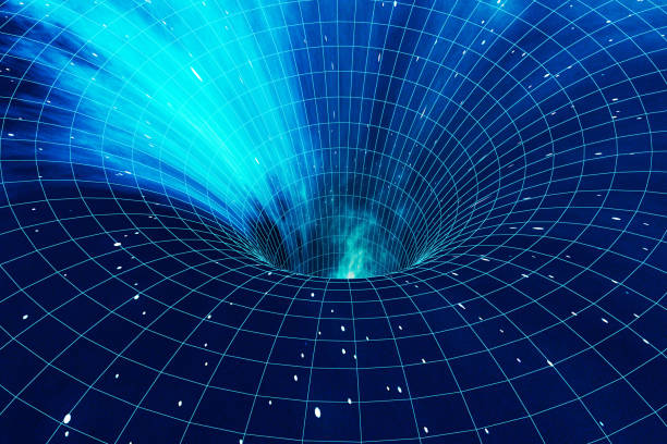 Abstract speed tunnel warp in space, wormhole or black hole, scene of overcoming the temporary space in cosmos. 3d rendering vector art illustration