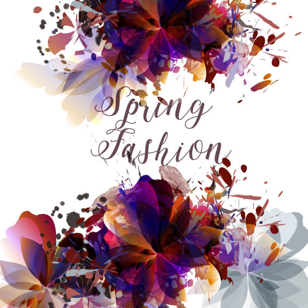 abstract spring fashion illustration with leafs and spots.colorful - spring fashion stock illustrations, clip art, cartoons, & icons
