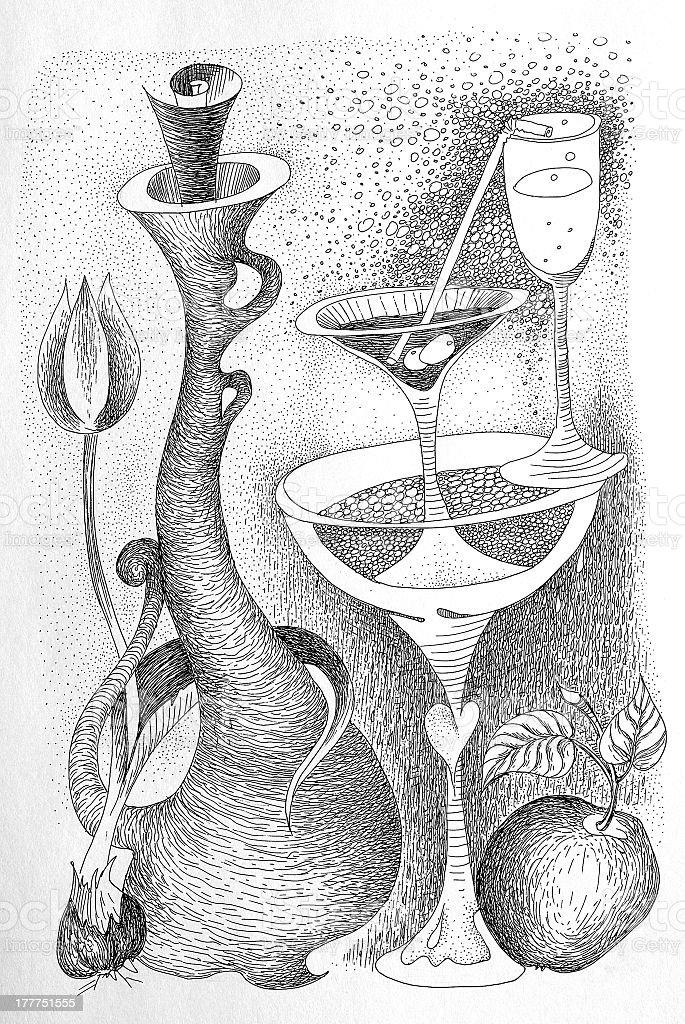 Abstract still life drawing royalty-free stock vector art