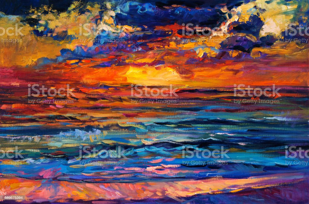 Abstract sunset vector art illustration