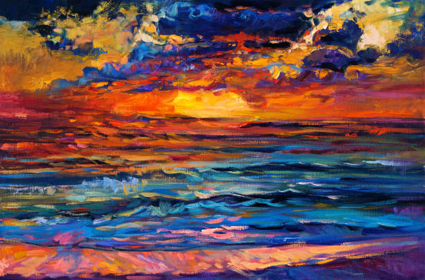 Abstract sunset Original oil painting of beautiful sea on canvas. Rich golden sunset over ocean.Modern Impressionism impressionism stock illustrations