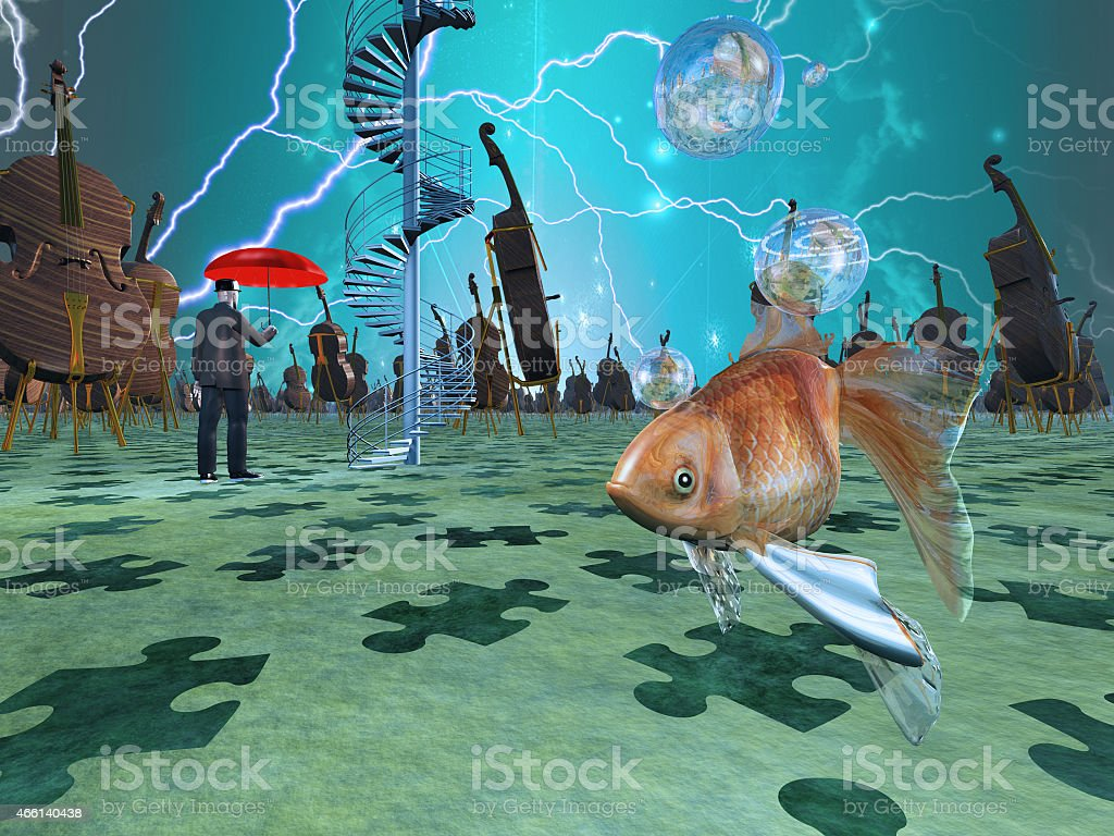 Abstract surreal montage of fish in a sea of cellos vector art illustration