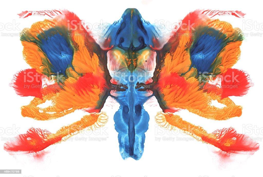 Abstract symmetric painting. Rorschach test vector art illustration
