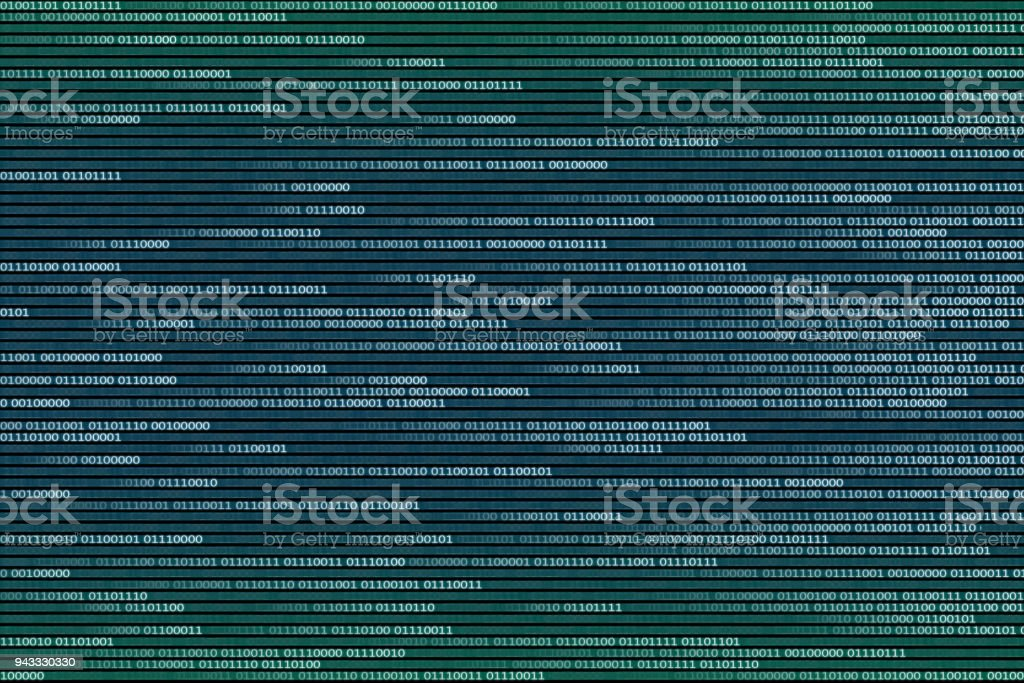 Abstract Technology data stream concepts. moving white blue binary code on black display screen. vector art illustration
