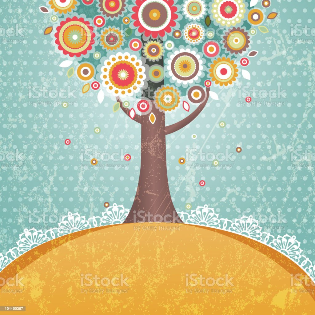 Abstract tree with flowers royalty-free stock vector art