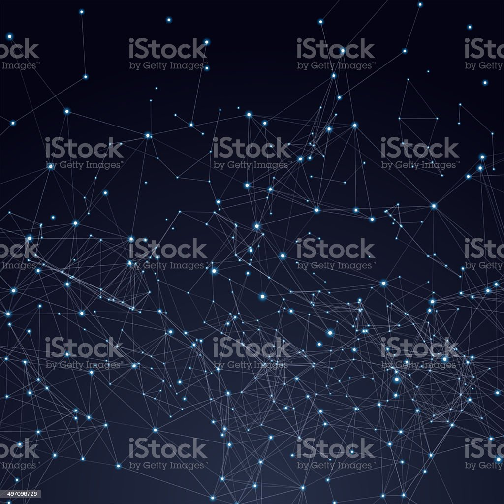 Abstract triangles space low poly. Dark background with connecting dots vector art illustration