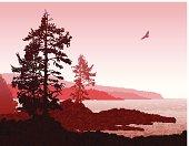 Inspiring illustration depicting the rugged west coast of Vancouver Island