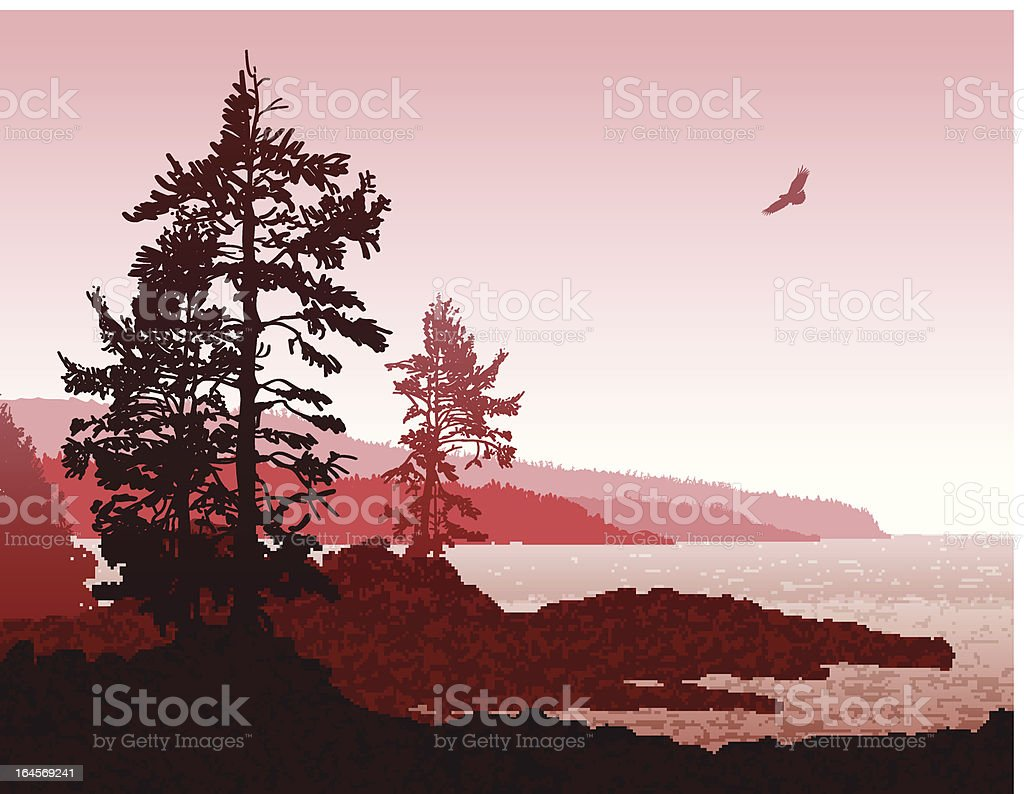 Abstract Vancouver Island BC West Coast Landscape vector art illustration