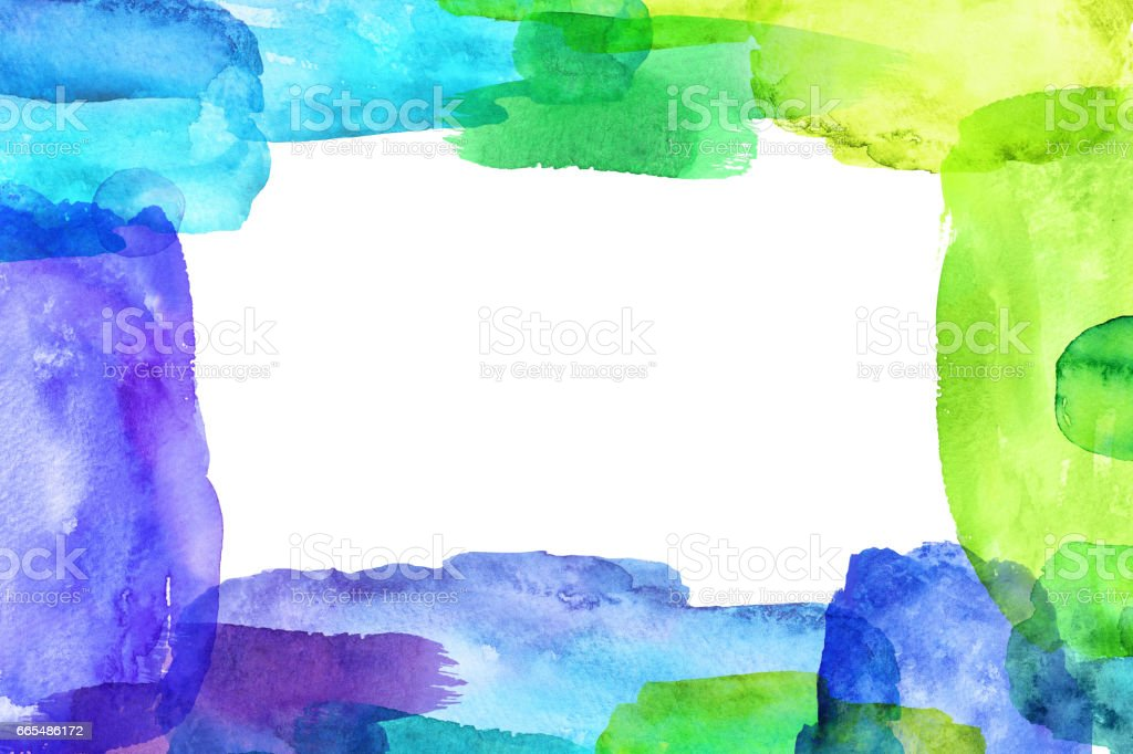 abstract vivid watercolor frame, grunge square border, hand painted brush strokes, creative blank banner, isolated on white background vector art illustration