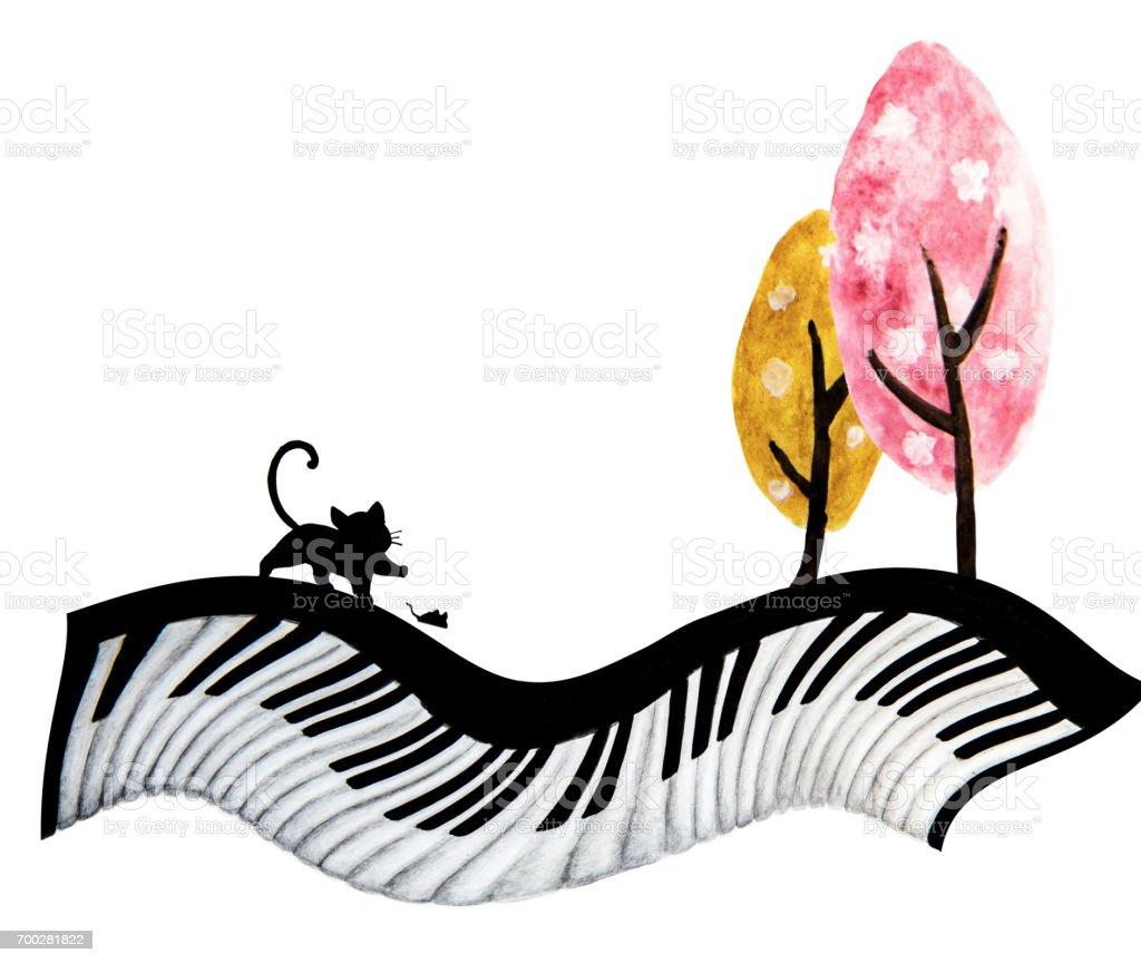 Soyut Suluboya Resim El Boyama Kara Kedi Fare Ve Klavye üzerinde