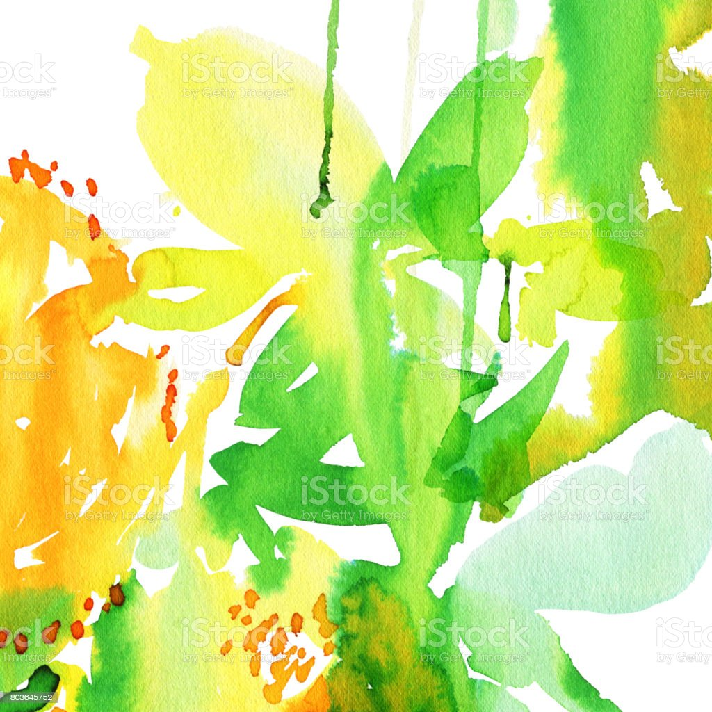 Abstract Watercolor Background To Create A Greeting Card With Lemons