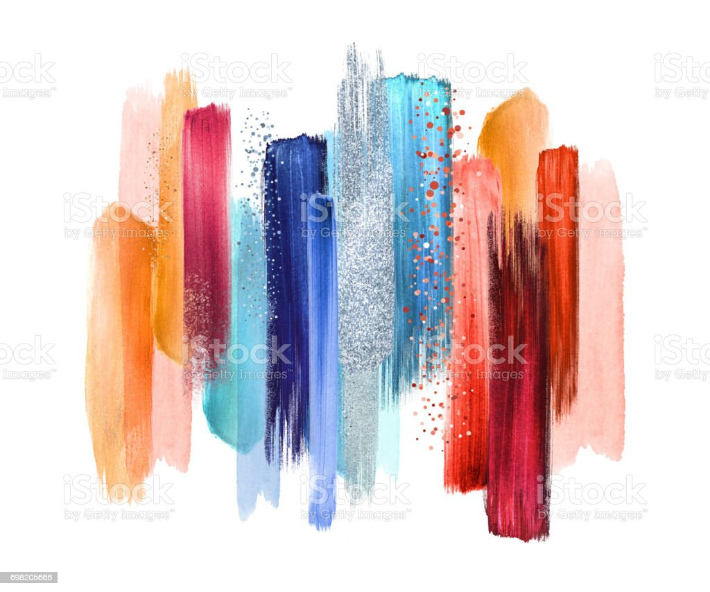 abstract watercolor brush strokes isolated on white background, paint smears, red blue palette swatches, modern wall art vector art illustration