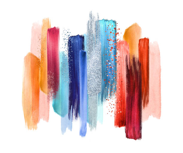 abstract watercolor brush strokes isolated on white background, paint smears, red blue palette swatches, modern wall art - makeup fashion stock illustrations