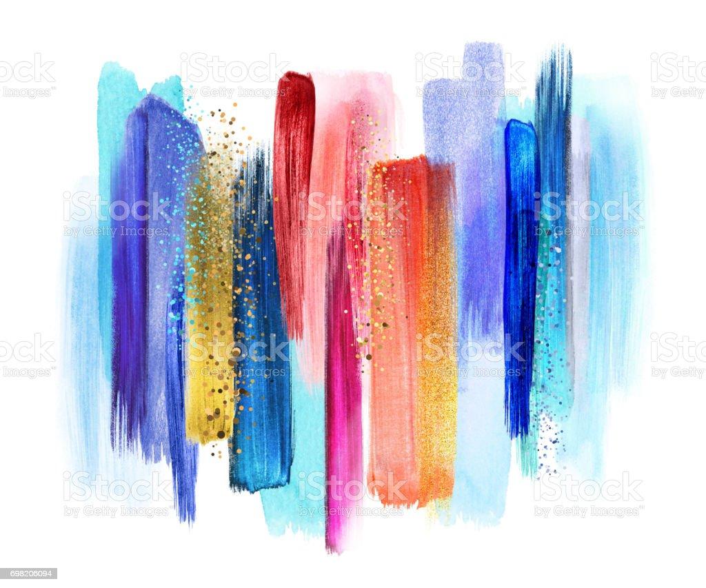 pincel con pintura. trazos de pincel acuarela abstracta aisladas sobre fondo blanco, manchas pintura, muestras con pintura