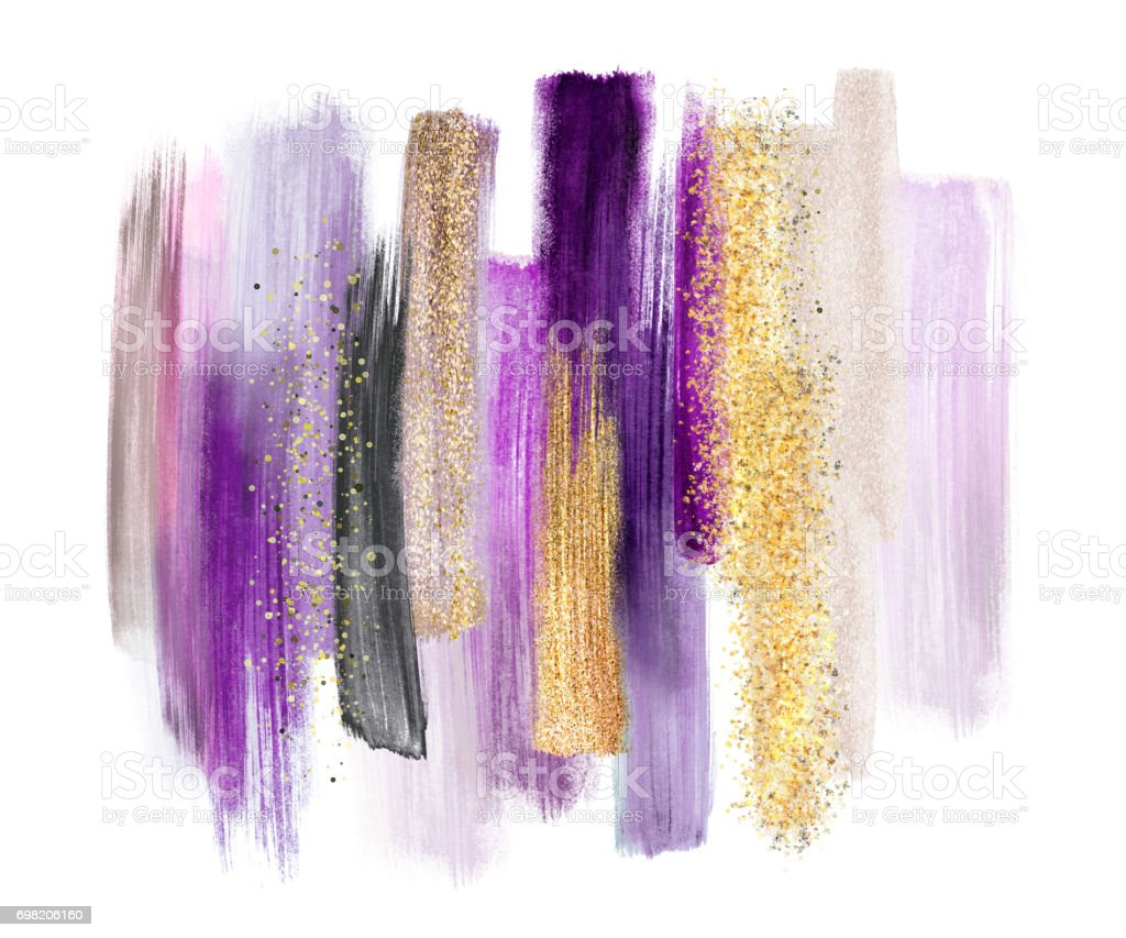 abstract watercolor brush strokes isolated on white background, paint smears, purple gold, palette swatches, modern wall art vector art illustration