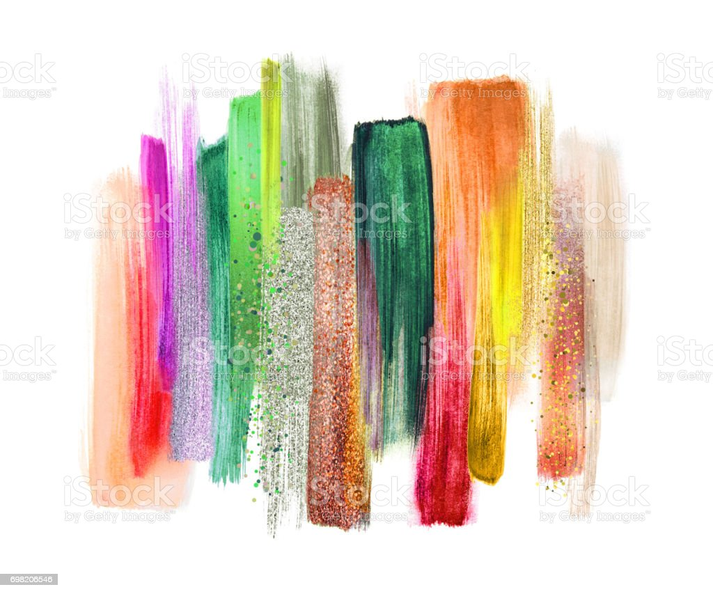 abstract watercolor brush strokes isolated on white background, paint smears, tropical colors palette swatches, modern wall art vector art illustration