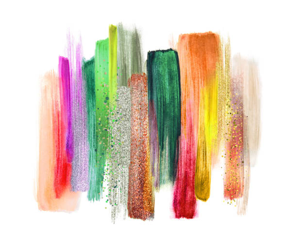 abstract watercolor brush strokes isolated on white background, paint smears, tropical colors palette swatches, modern wall art - rainbow glitter background stock illustrations