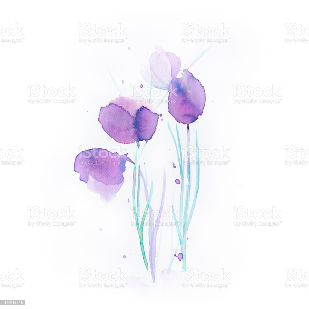 Abstract Watercolor Flowers vector art illustration