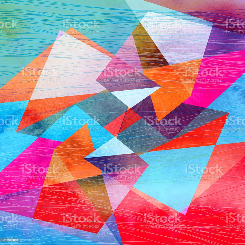 Abstract watercolor geometric background vector art illustration