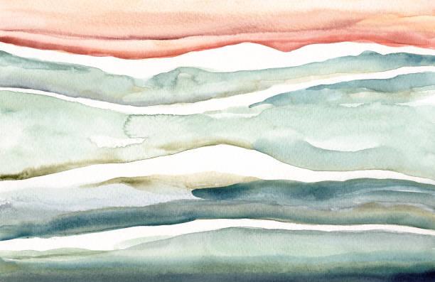 illustrazioni stock, clip art, cartoni animati e icone di tendenza di abstract watercolor landscape - quadro