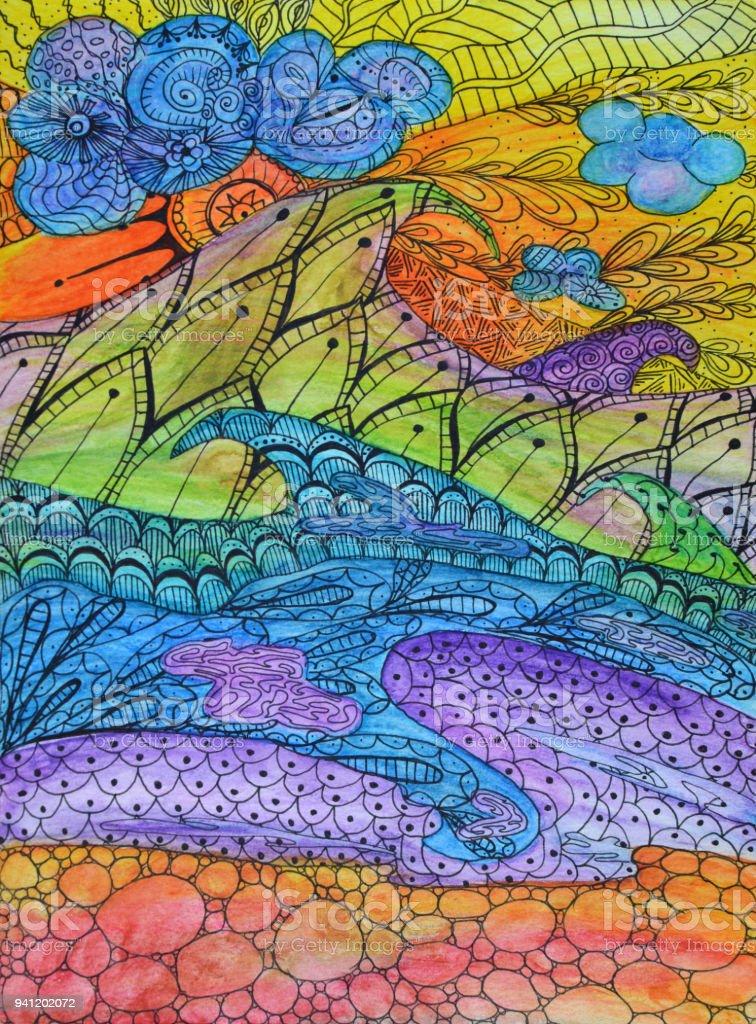 Peinture Aquarelle Abstraite Vagues De Vitraux Art Nouveau Zigzag ...