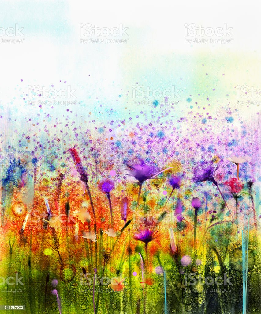 Abstract watercolor painting wildflower vector art illustration