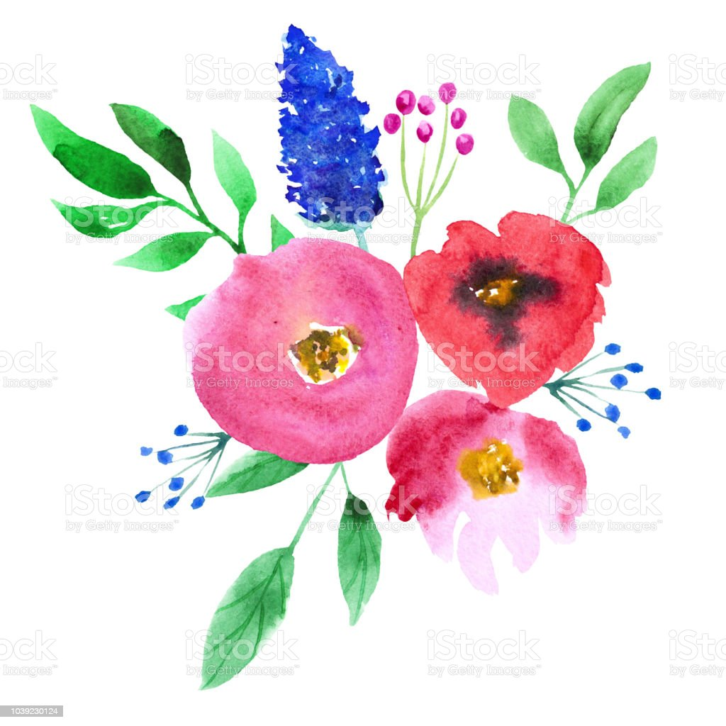 Abstract Watercolor Pink And Blue Flowers On White Background Hand