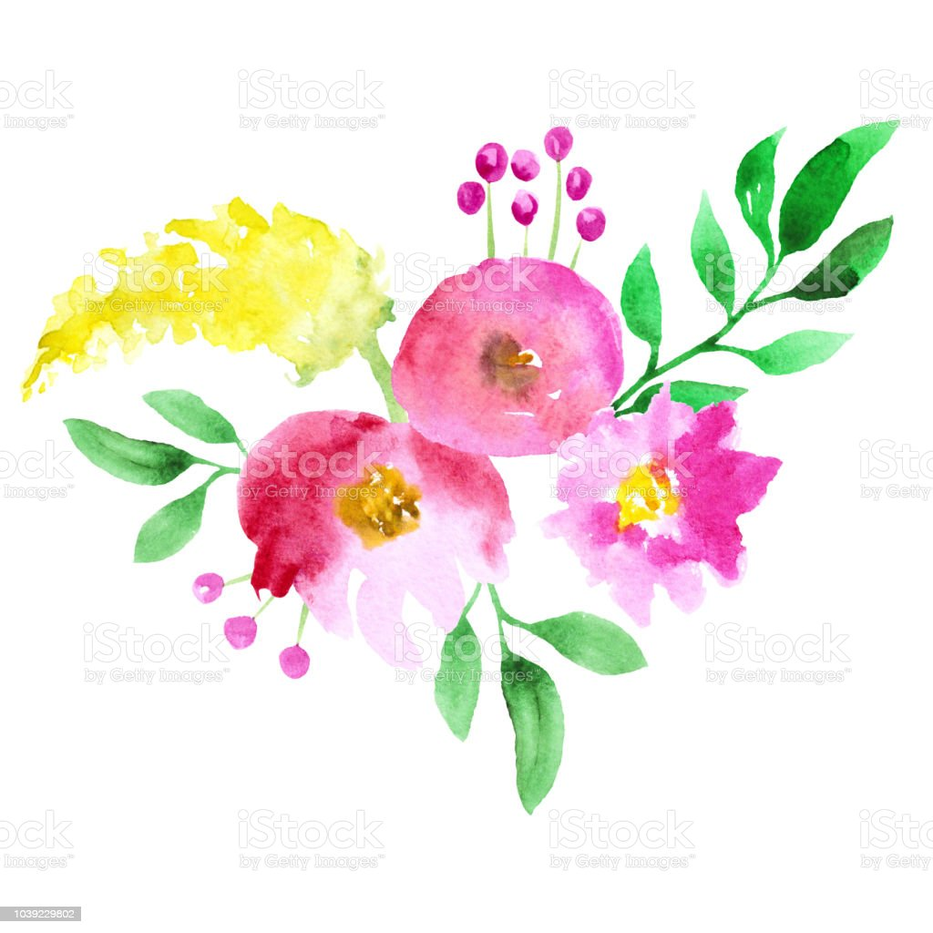 Abstract Watercolor Pink And Yellow Flowers On White Background